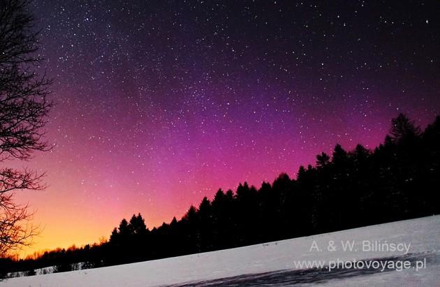 Zorza polarna, aurora borealis, Bieszczady. Author: AW Bilińscy - Bank Zdjęć © photovoyage.pl