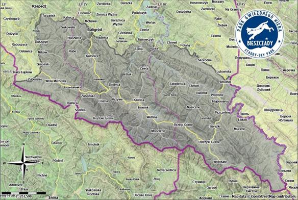 """Mapa granic PGN """"Bieszczady"""""""