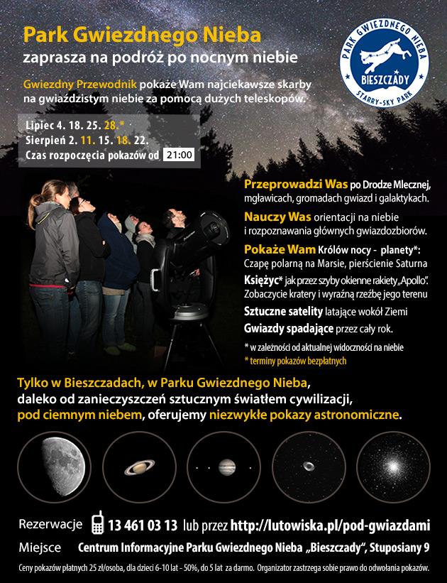 Oferta wakacyjna pokazów i obserwacji astronomicznych